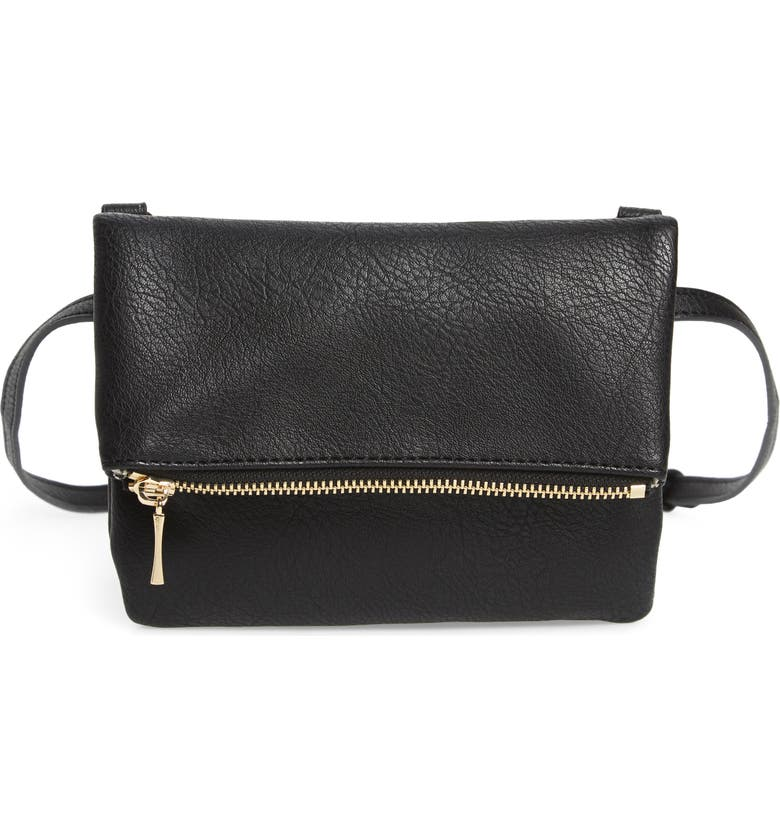 SOLE SOCIETY Cassie Faux Leather Belt Bag, Main, color, 001