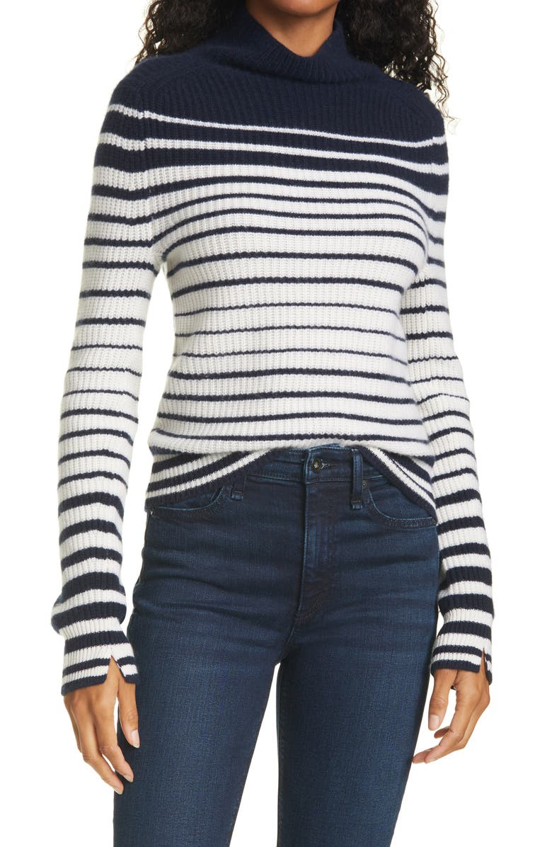 RAG & BONE Pierce Stripe Cashmere Turtleneck Sweater, Main, color, SALUTE IVORY