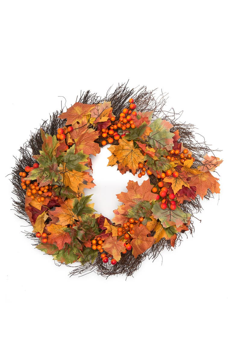 """A AND B HOME 24"""" Fall Maple Leaf & Berry Wreath, Main, color, ORANGE/YELLOW/GREEN"""
