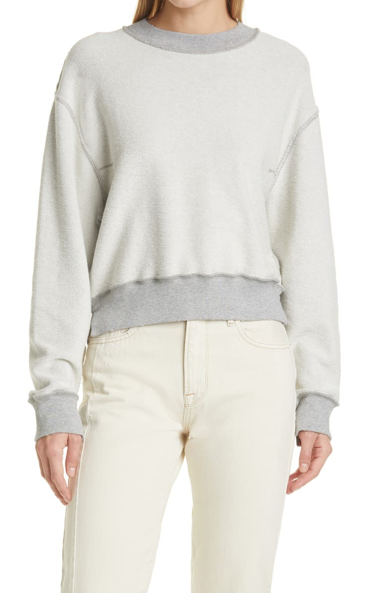 FRAME Inverse Easy Organic Cotton French Terrry Sweatshirt, Main, color, GRIS HEATHER