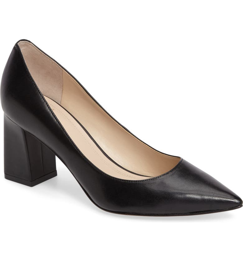 MARC FISHER LTD Zala Block Heel Pump, Main, color, BLACK LEATHER