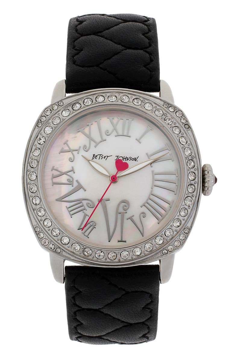 BETSEY JOHNSON Heart Quilted Leather Strap Watch, Main, color, 001