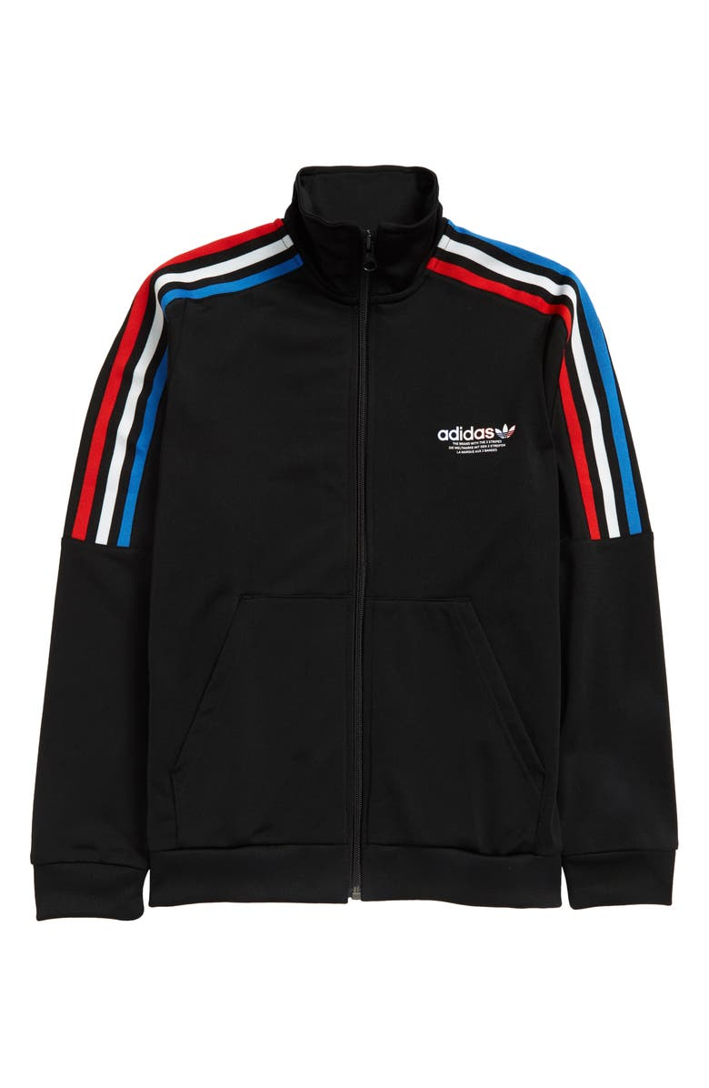ADIDAS ORIGINALS Kids' Tricolor Stripe Track Jacket, Main, color, Black