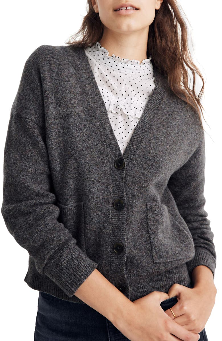MADEWELL Button Front V-Neck Cardigan, Main, color, 020