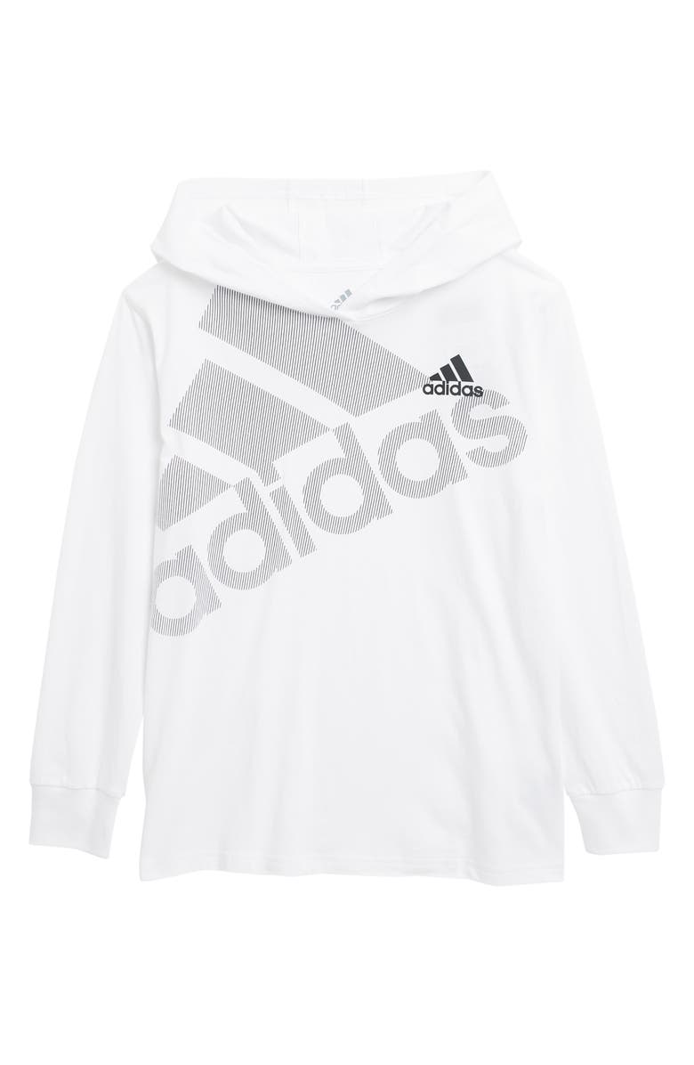 ADIDAS Hooded Long Sleeve Top, Main, color, WHITE