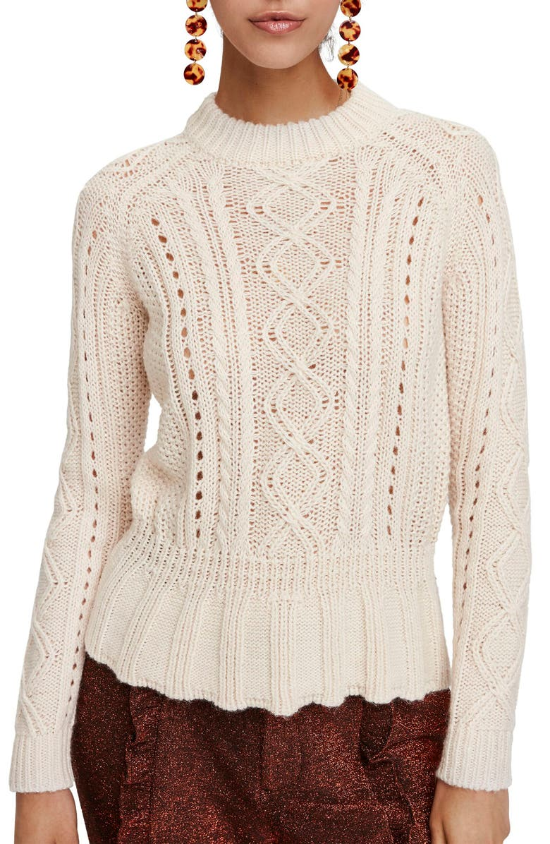 SCOTCH & SODA Chunky Cable Knit Peplum Sweater, Main, color, 001