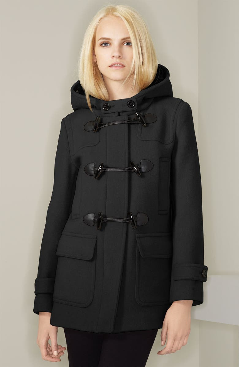BURBERRY BRIT Hooded Wool Topper, Main, color, 001