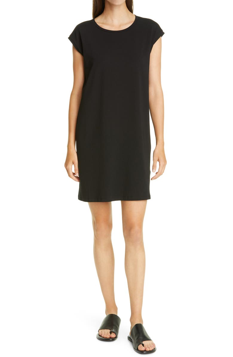 EILEEN FISHER Organic Cotton Jersey Shift Dress, Main, color, 001