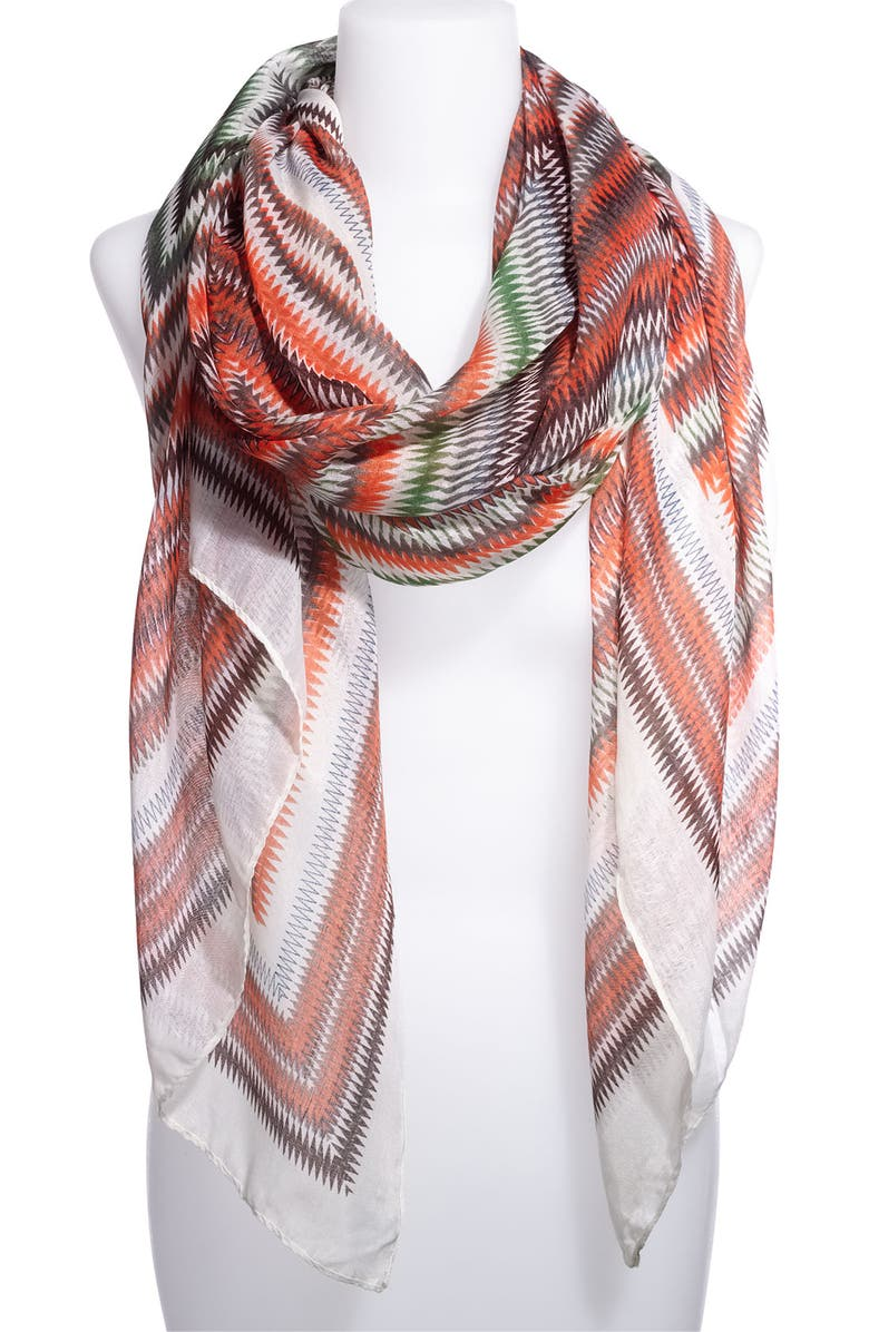 RUBBISH<SUP>®</SUP> Sheer Zigzag Scarf, Main, color, 800