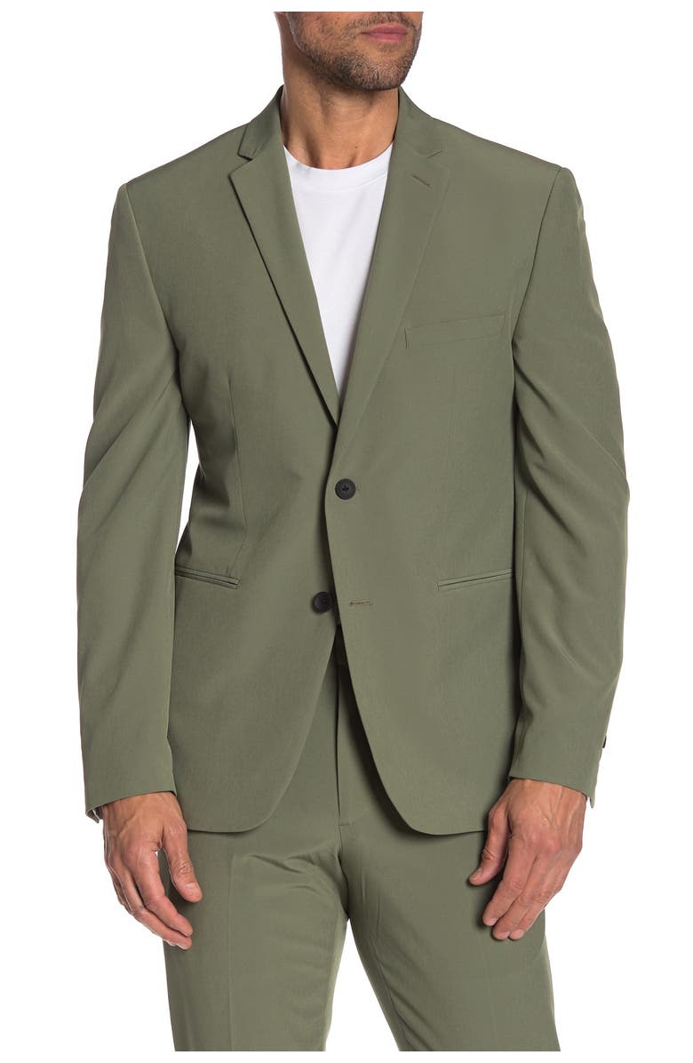 PERRY ELLIS Green Solid Two Button Notch Lapel Very Slim Fit Performance Tech Suit Separates Jacket, Main, color, LIGHT GREEN SOLID