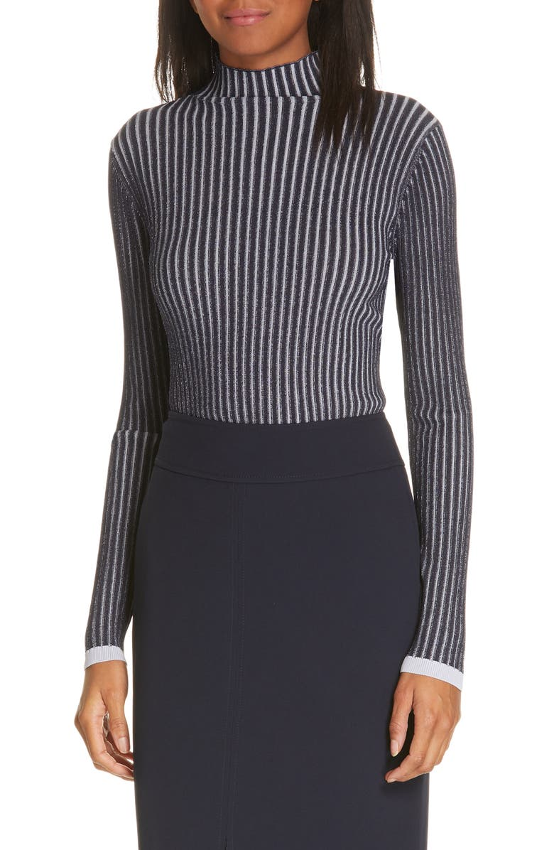 LEWIT Stripe Ribbed Mock Neck Sweater, Main, color, 410