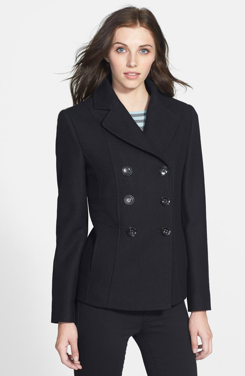 KENNETH COLE NEW YORK Wool Blend Peacoat, Main, color, 001