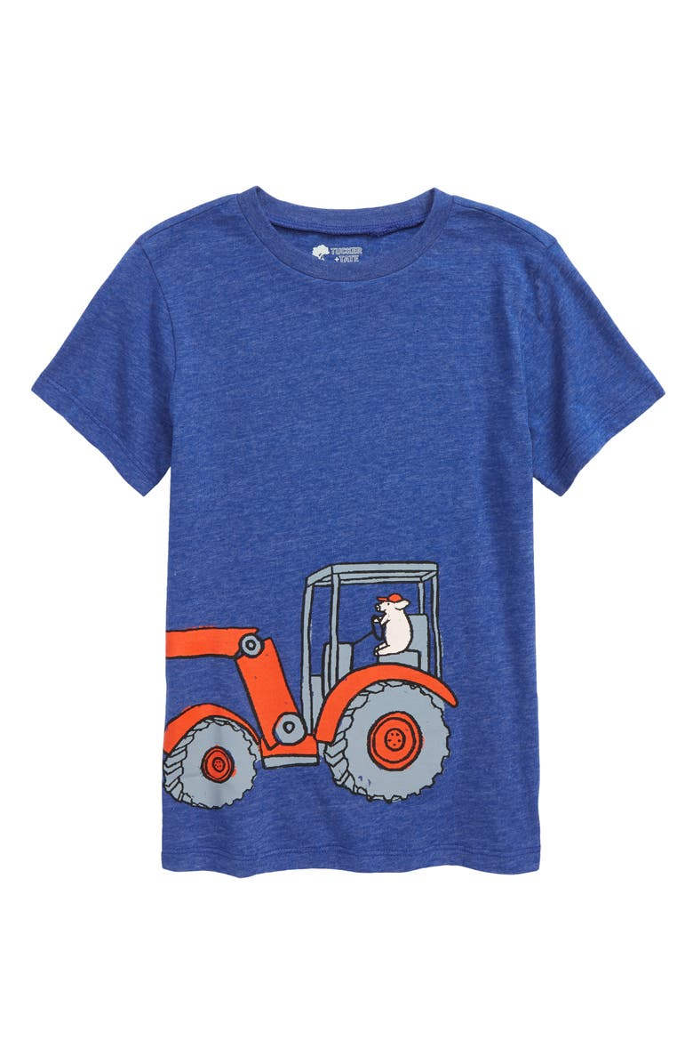 TUCKER + TATE Kids' Graphic Tee, Main, color, BLUE SURF HEATHER TRACTOR