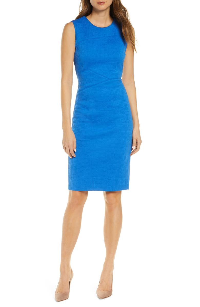 FOREST LILY Textured Sleeveless Sheath Dress, Main, color, ROYAL BLUE