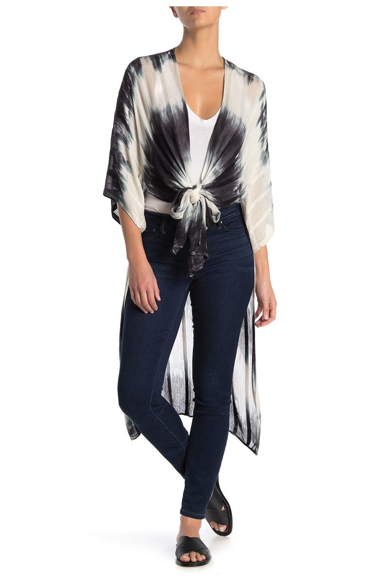 MELROSE AND MARKET Tie Dye 3/4 Sleeve Ruana Duster, Main, color, BLACK COMBO