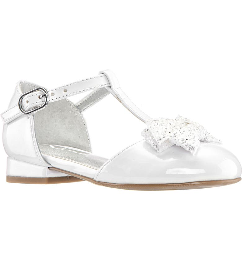 NINA Noemy Glitter Bow Dress Shoe, Main, color, WHITE PATENT