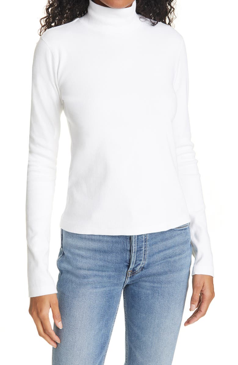 RE/DONE Mock Neck Top, Main, color, OFF WHITE