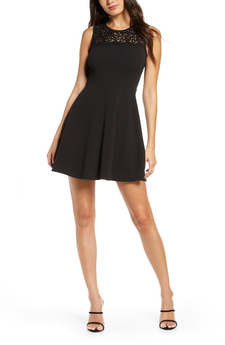 LULUS According to Love Lace Skater Dress, Main, color, 001