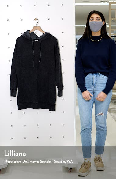 Washed Long Sleeve Hooded Sweatshirt Dress, sales video thumbnail