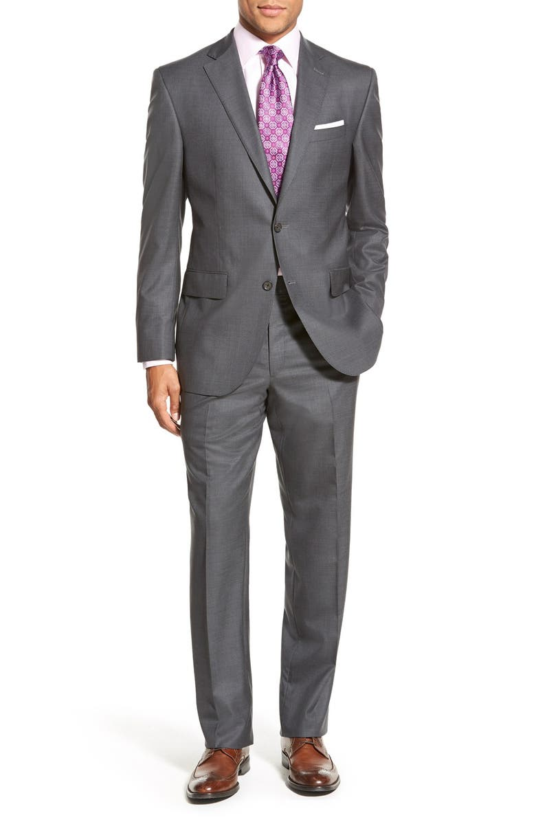 DAVID DONAHUE Ryan Classic Fit Solid Wool Suit, Main, color, 010