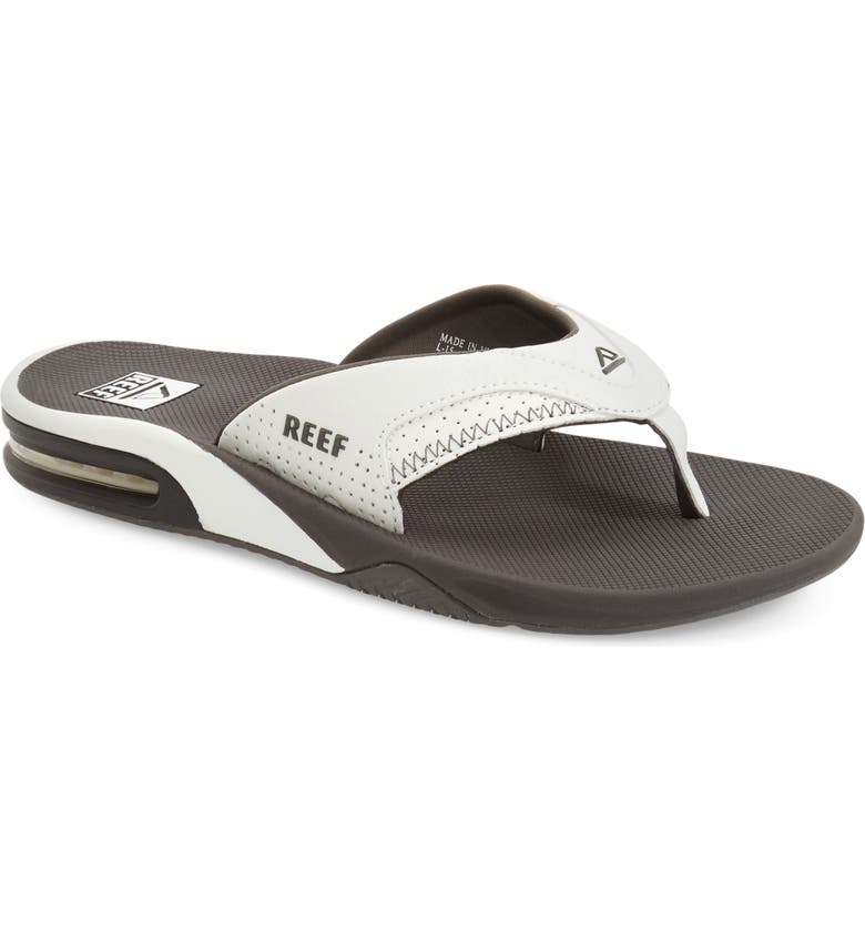 REEF Fanning Low Flip Flop, Main, color, GREY/ WHITE