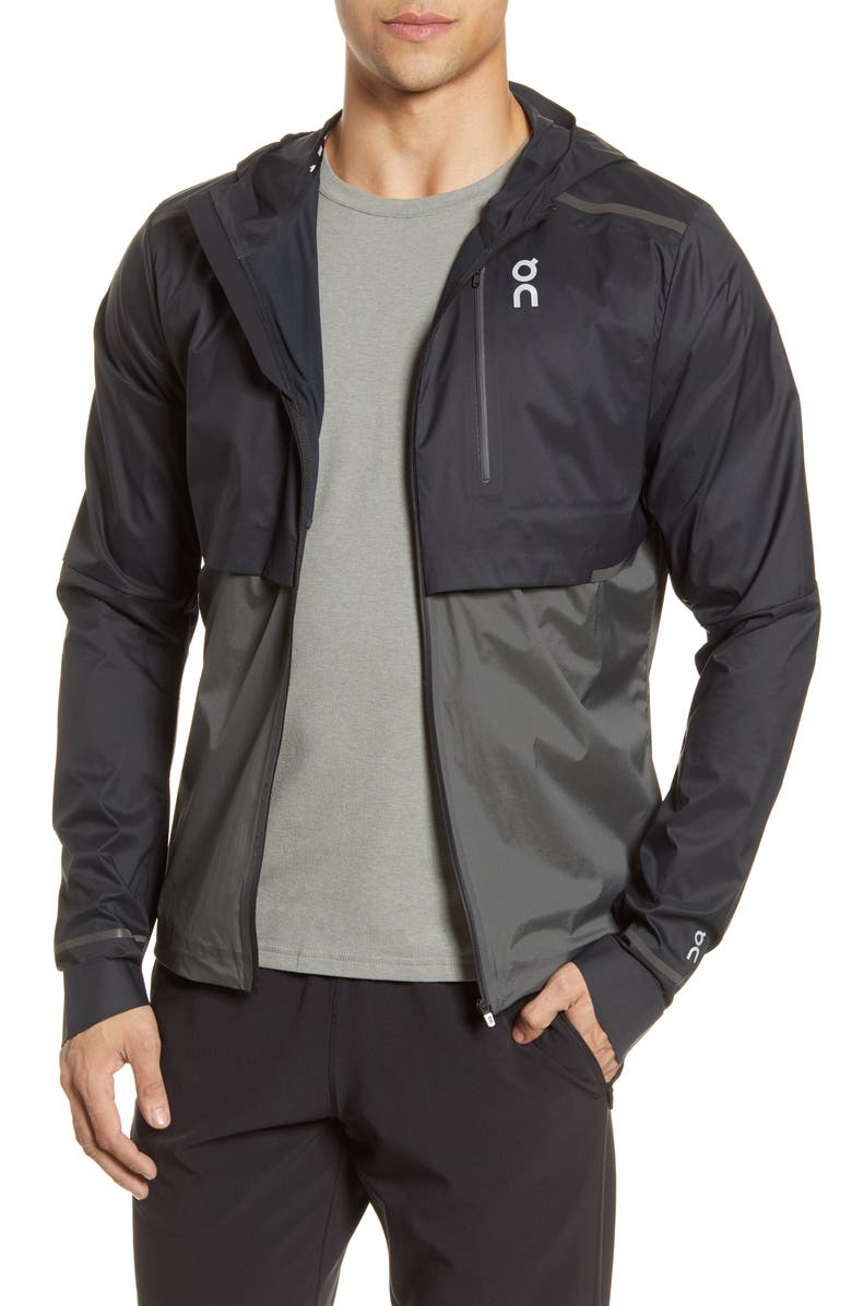 ON Weather Water Repellent Hooded Jacket, Main, color, BLACK/ SHADOW