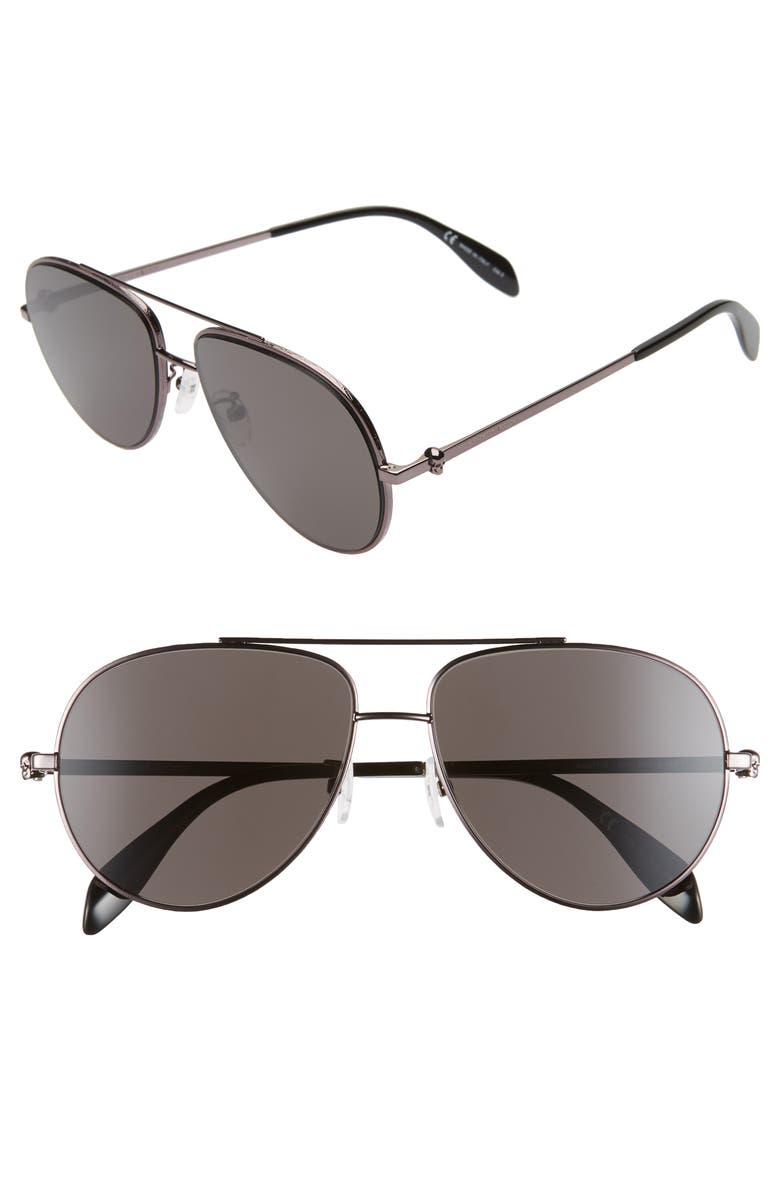 ALEXANDER MCQUEEN 60mm Aviator Sunglasses, Main, color, 050