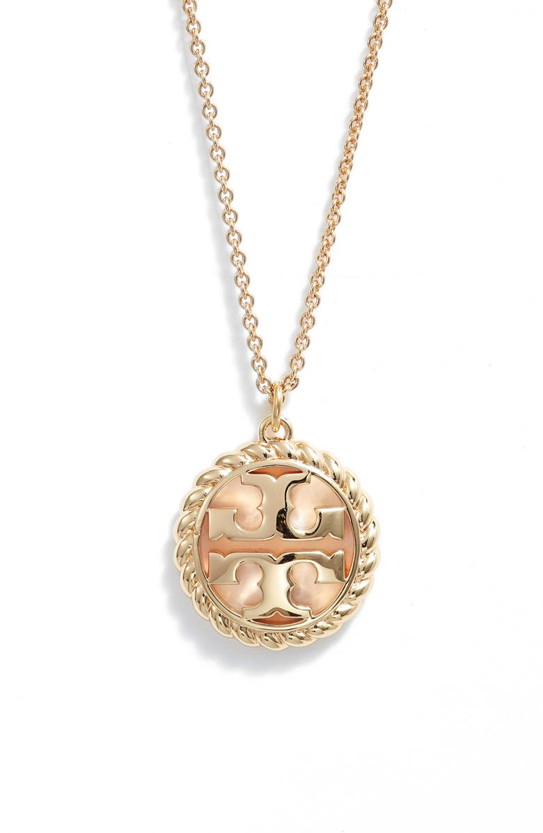 TORY BURCH Rope Logo Pendant Necklace, Main, color, TORY GOLD