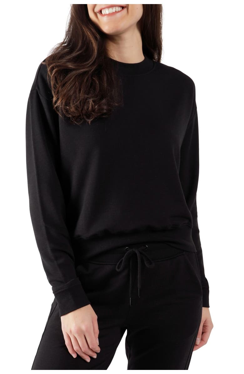 90 DEGREE BY REFLEX Missy Terry Brushed Long Sleeve, Main, color, BLACK