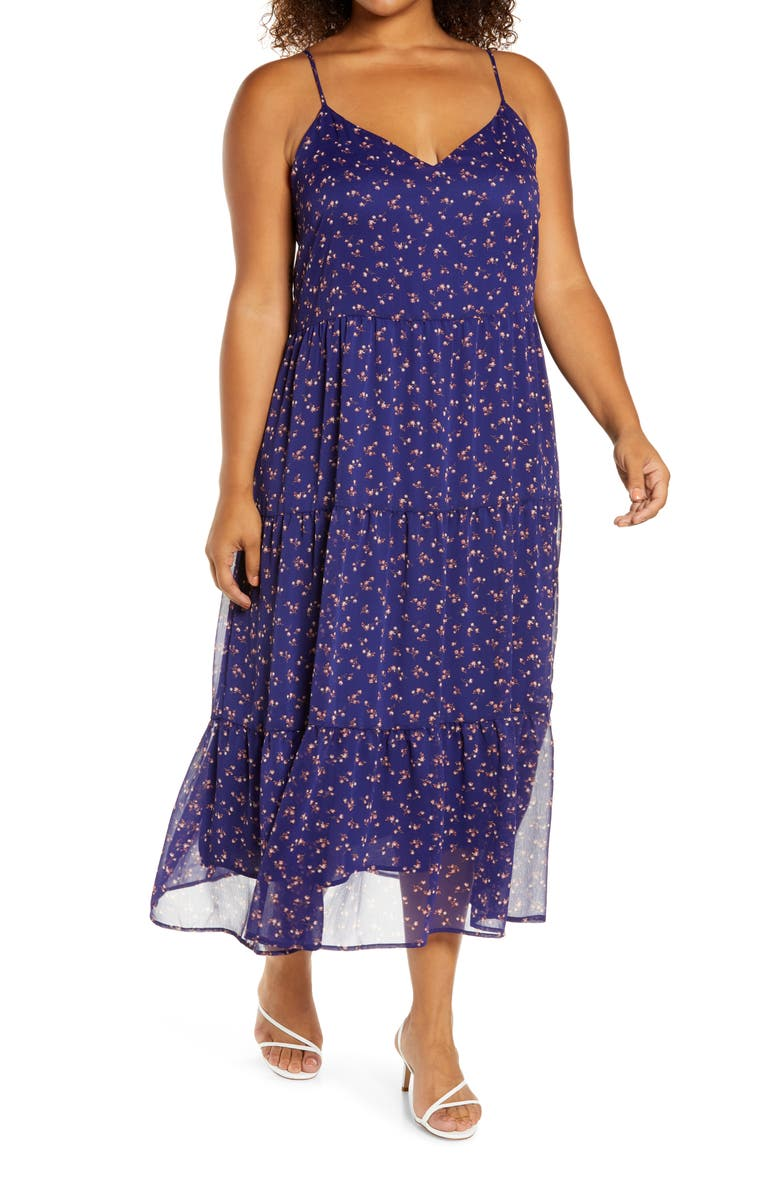 HALOGEN<SUP>®</SUP> Sleeveless Chiffon Tiered Maxi Dress, Main, color, PURPLE DITZY FLORAL