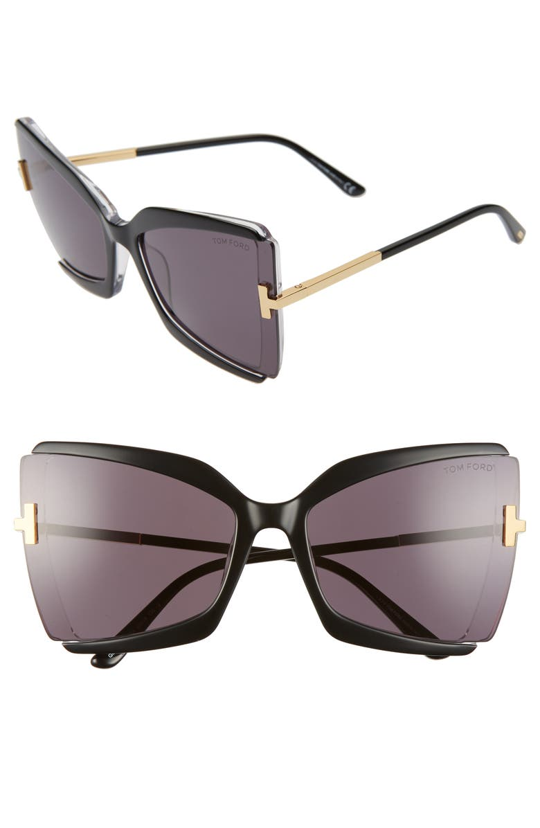 TOM FORD Gia 63mm Oversize Butterfly Sunglasses, Main, color, BLACK CRYSTAL/ GREY
