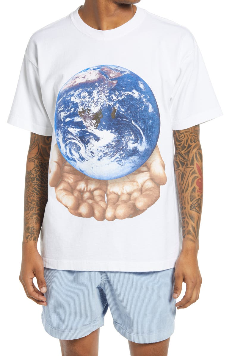 OBEY Men's Our Planet Is in Your Hands Graphic Tee, Main, color, WHITE
