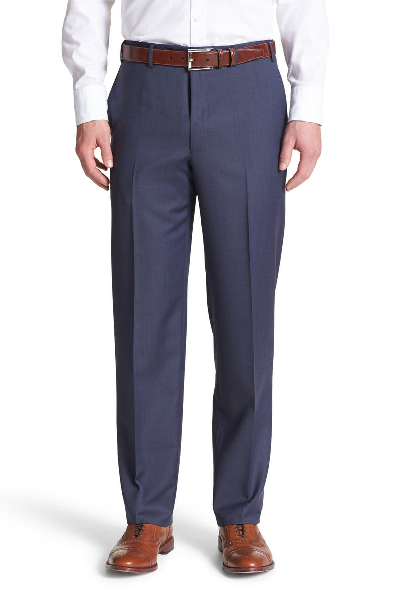 CANALI Flat Front Classic Fit Wool Dress Pants, Main, color, BLUE