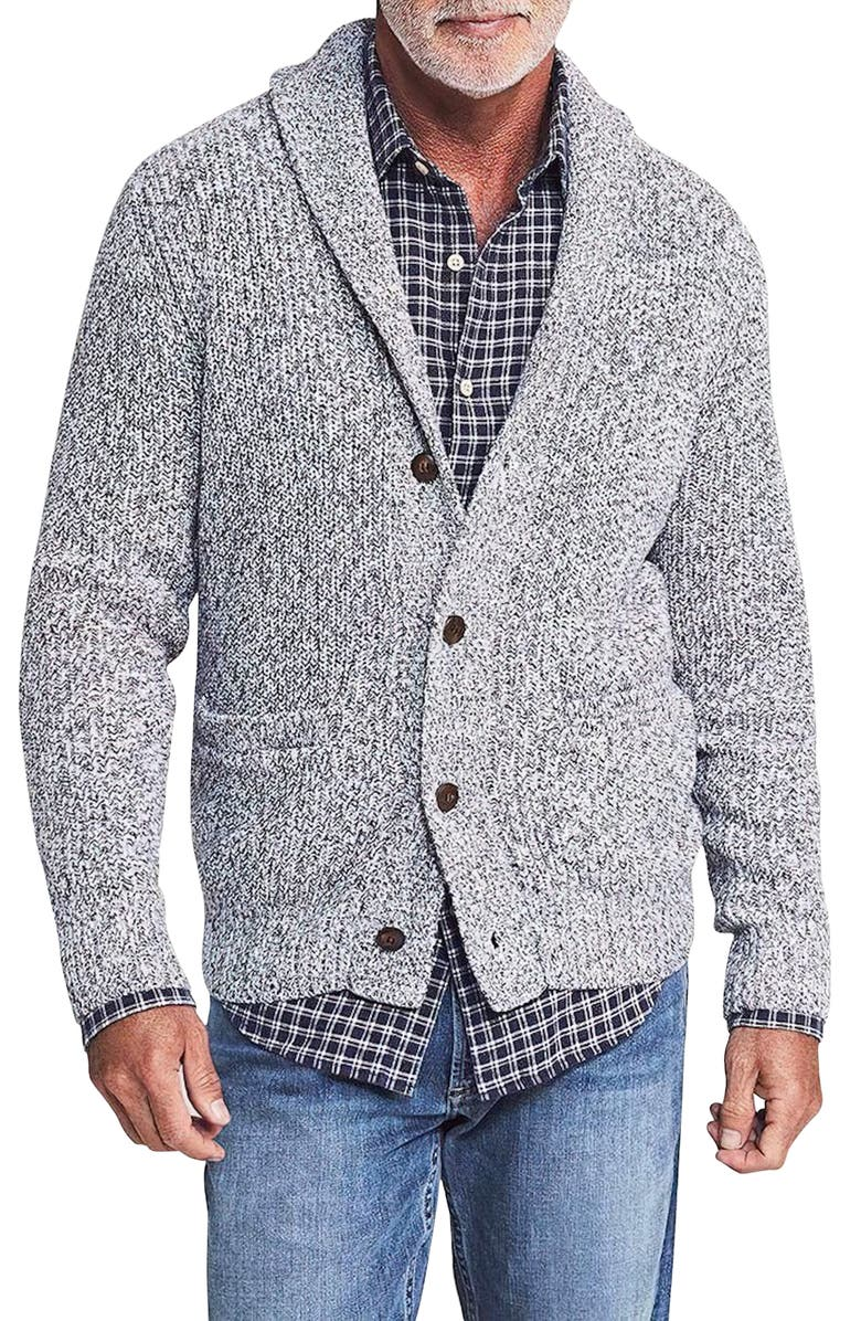 FAHERTY Marled Cotton & Cashmere Cardigan, Main, color, LIGHT GREY MARL
