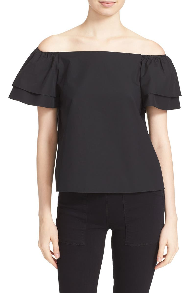 ALICE + OLIVIA 'Loryn' Off the Shoulder Cotton Blouse, Main, color, 001