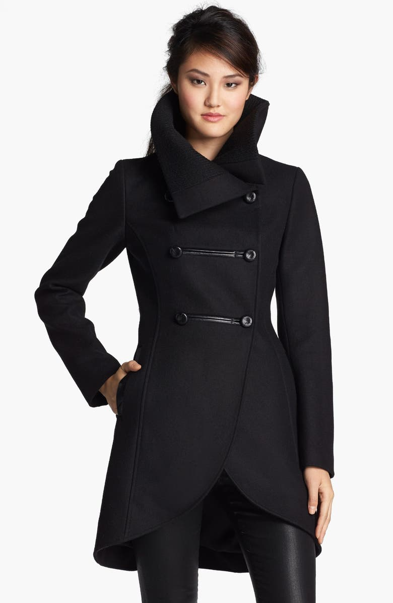 MACKAGE Leather Trim Double Breasted Coat, Main, color, 001