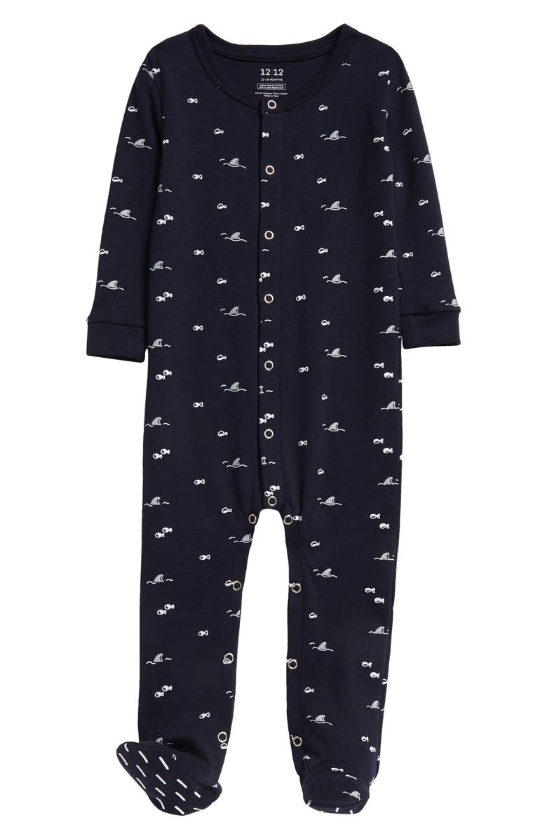 1212 The Nightly Fitted One-Piece Pajamas, Main, color, NAVY SHARK/ MINNOWS