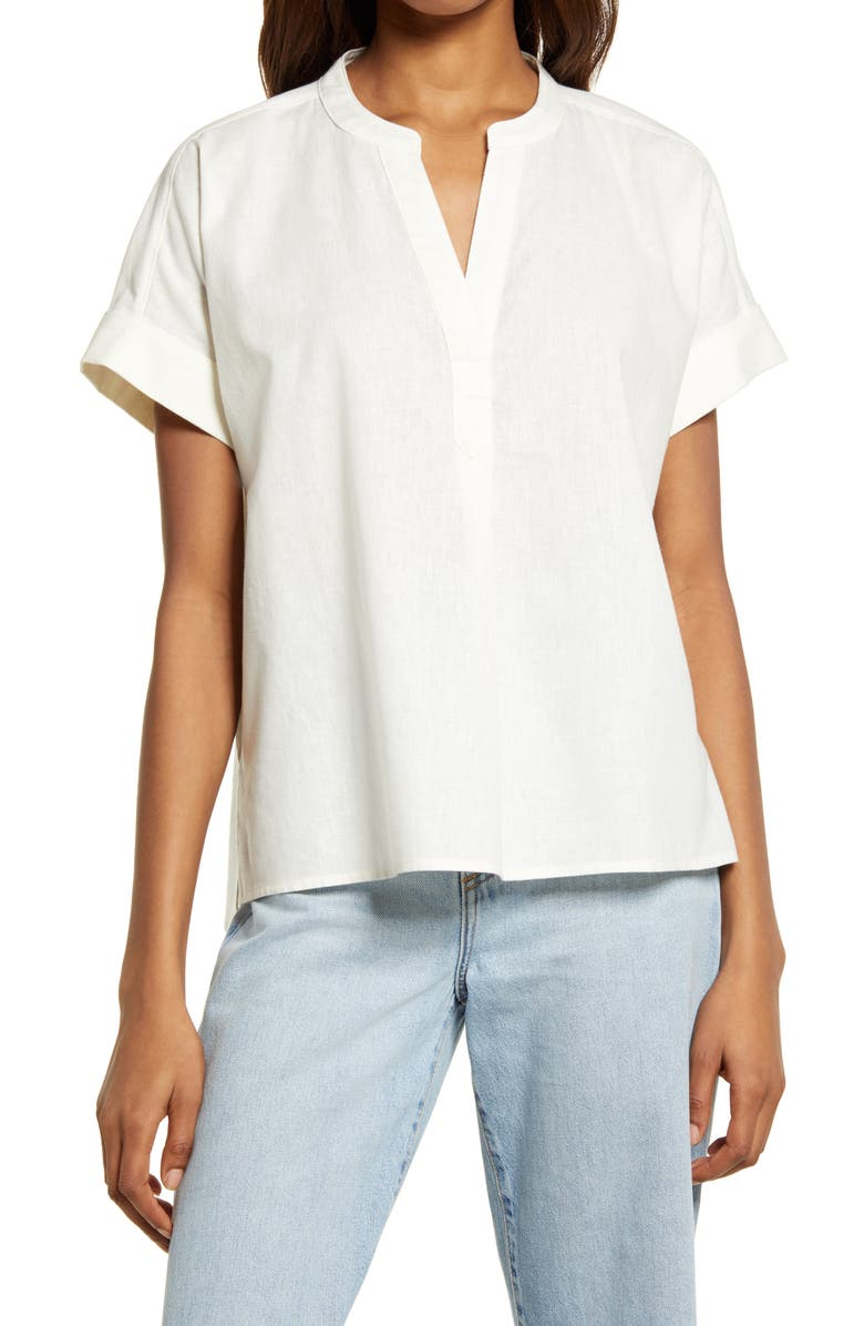 MADEWELL Women's (Re)sponsible Lakeline Popover Shirt, Main, color, LIGHTHOUSE