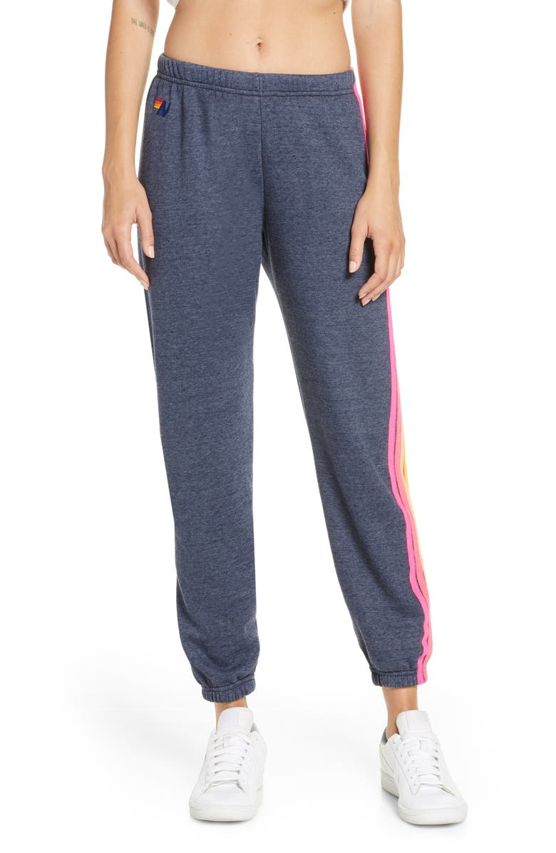 AVIATOR NATION Stripe Sweatpants, Main, color, HEATHER NAVY NEON