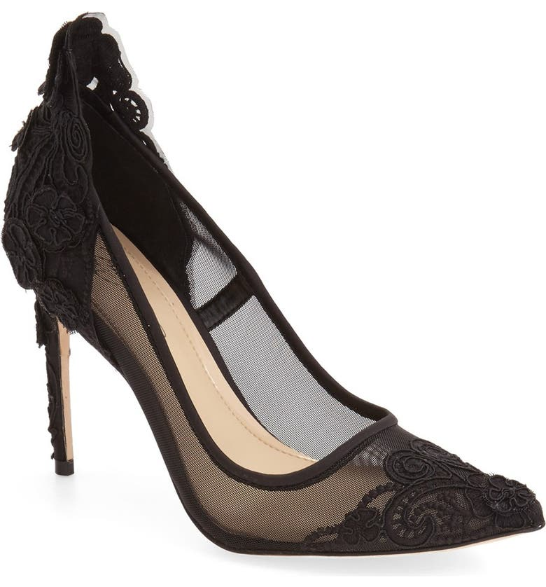 IMAGINE BY VINCE CAMUTO 'Ophelia' Pointy Toe Pump, Main, color, BLACK SATIN