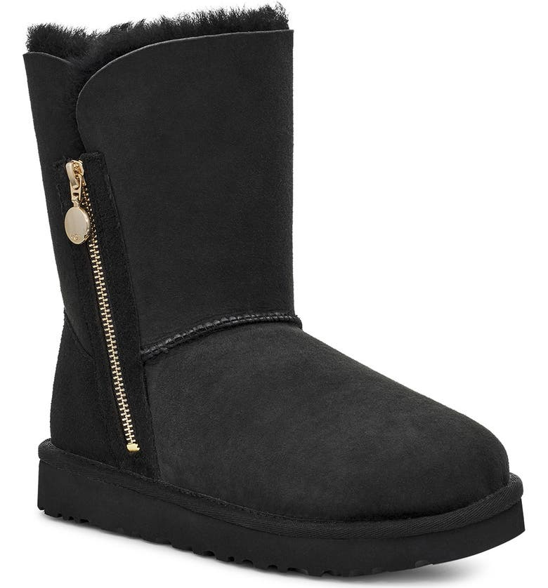 UGG<SUP>®</SUP> Bailey Short Boot, Main, color, BLACK SUEDE