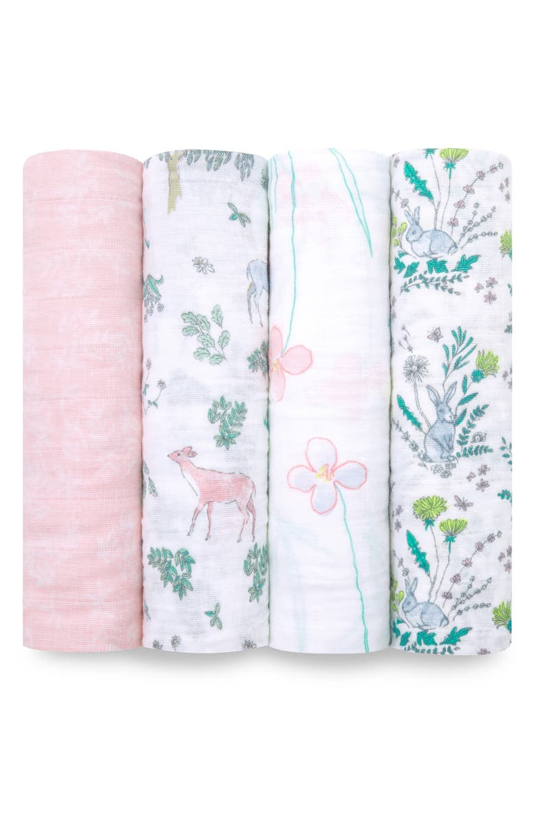 ADEN + ANAIS White Label Forest Fantasy 4-Pack Swaddling Cloths, Main, color, FOREST FANTASY