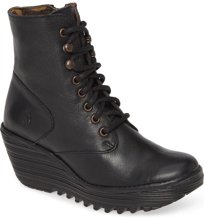 FLY LONDON Ygot Wedge Bootie, Main, color, 001