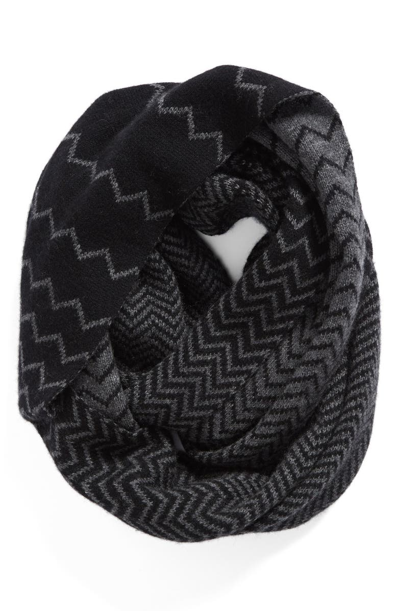 HALOGEN<SUP>®</SUP> Chevron Jacquard Wool & Cashmere Infinity Scarf, Main, color, 001