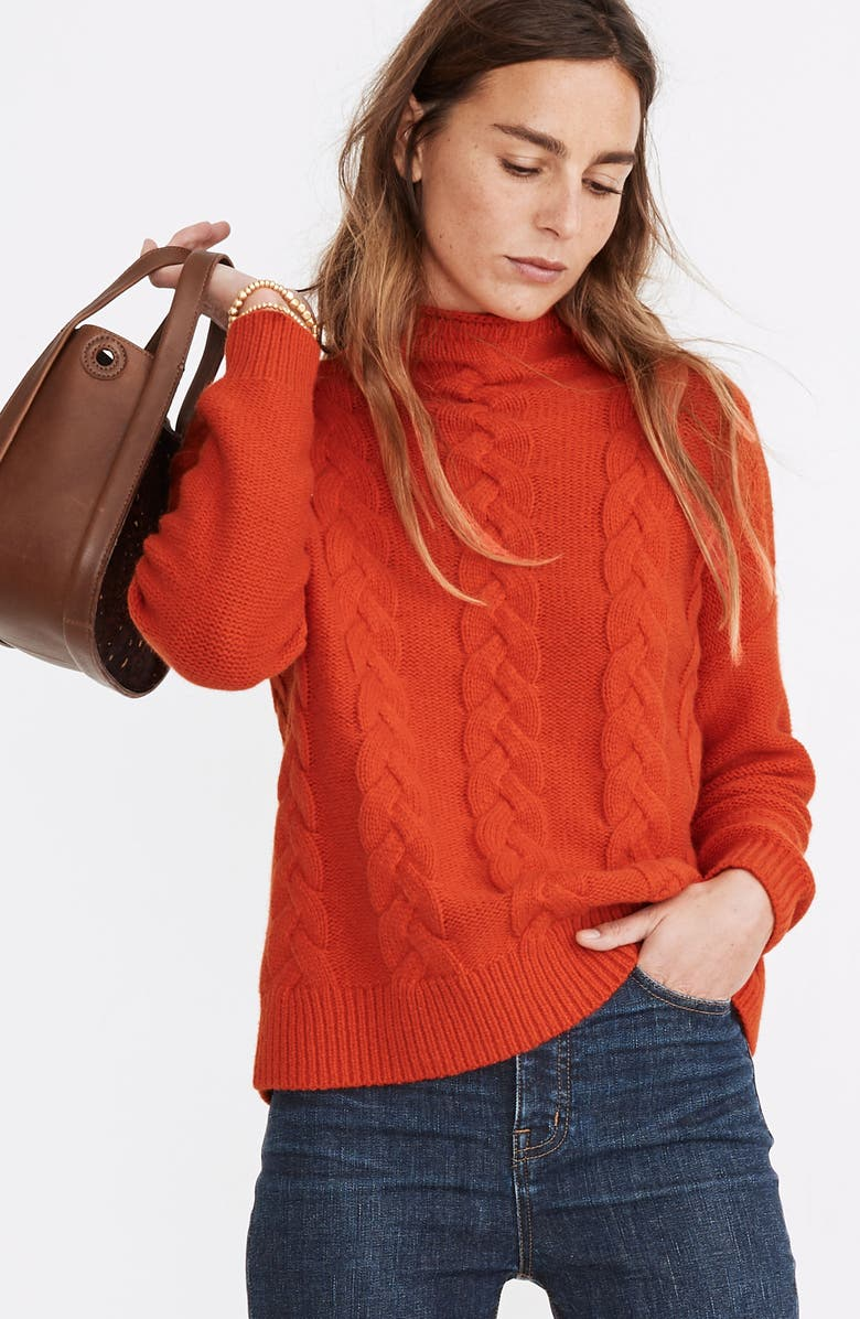MADEWELL Grenville Cable Mock Neck Sweater, Main, color, FLAME