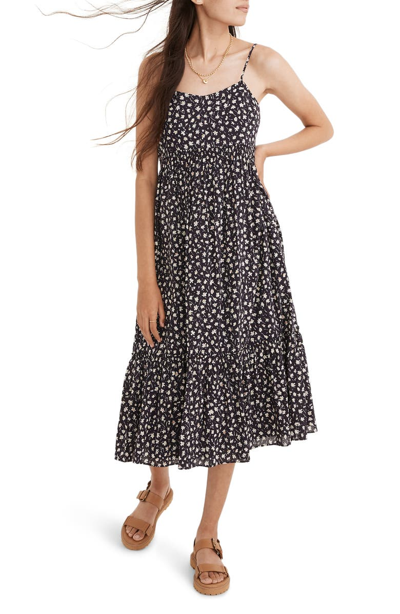 MADEWELL Floral Print Smocked Tiered Midi Sundress, Main, color, CRUSHED BLACKBERRY