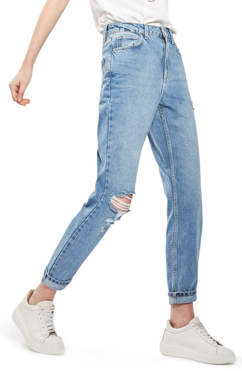 TOPSHOP Ripped Mom Jeans, Main, color, 400