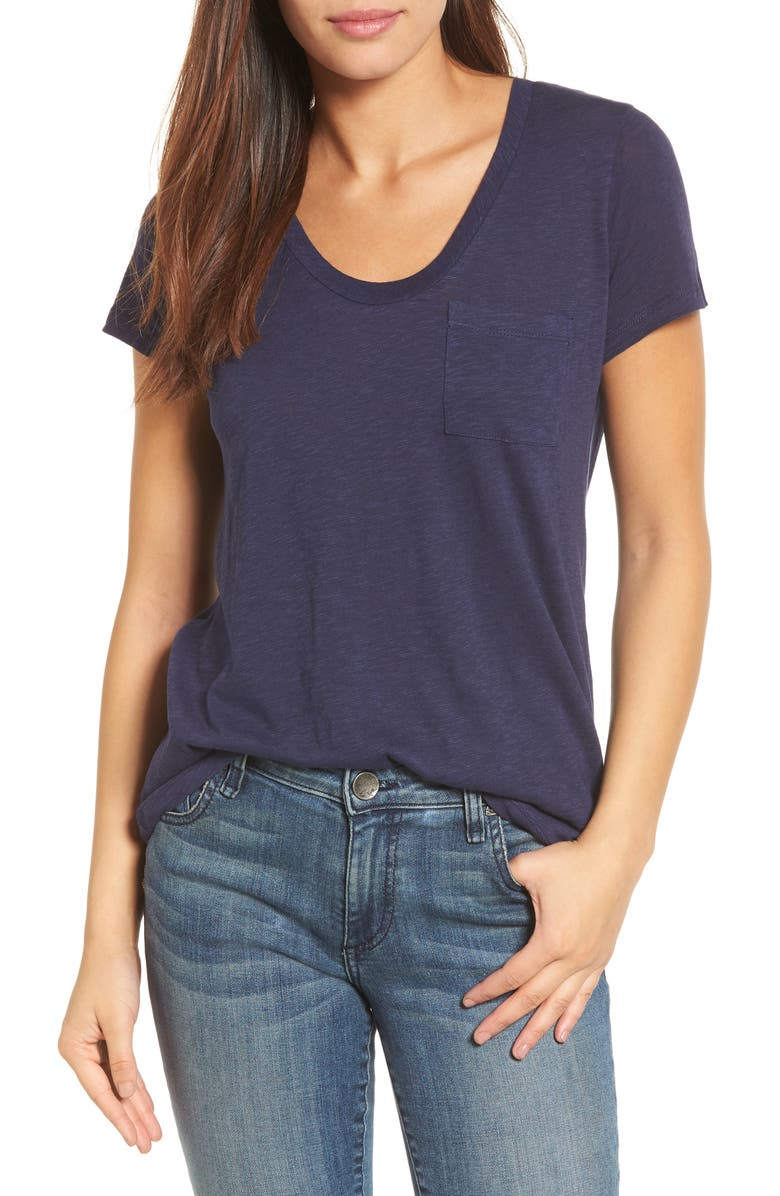 CASLON<SUP>®</SUP> Rounded V-Neck T-Shirt, Main, color, NAVY PEACOAT