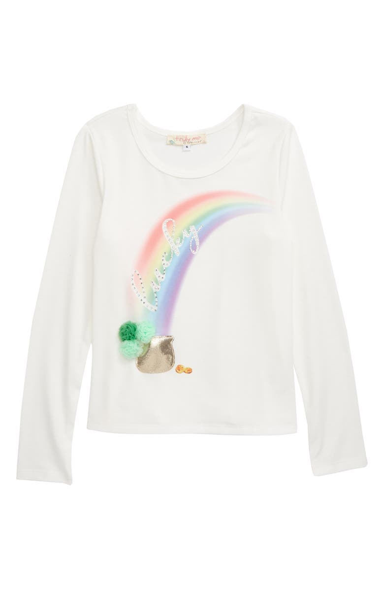 TRULY ME Lucky Rainbow Long Sleeve Graphic Tee, Main, color, 100