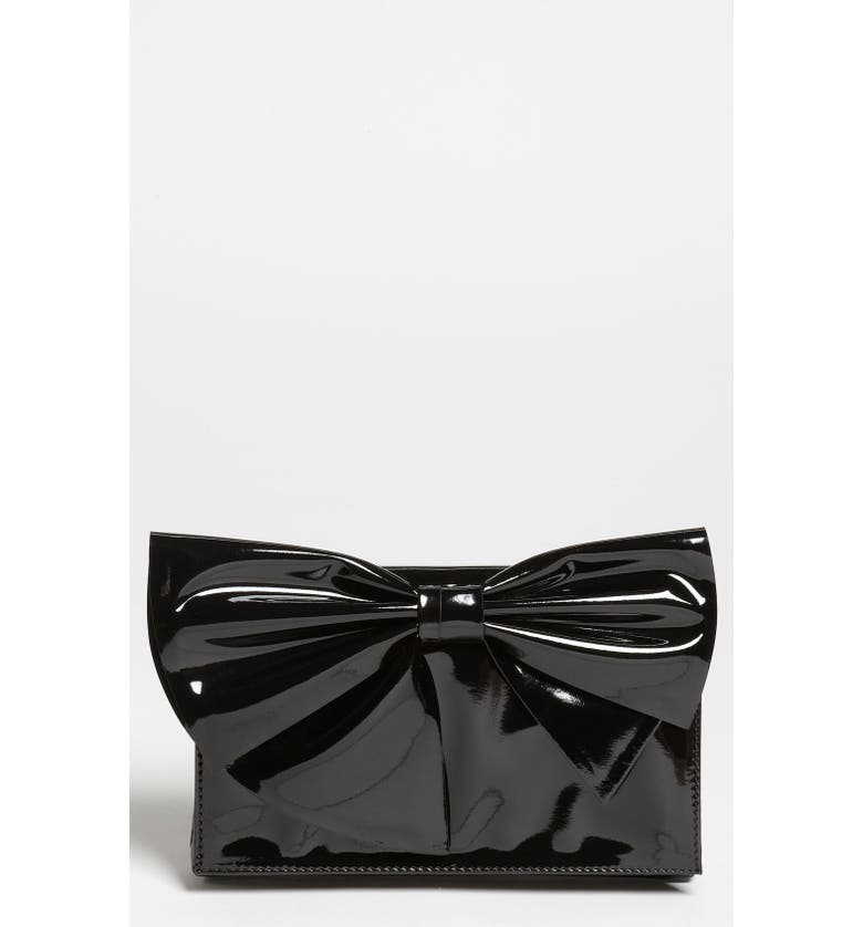 VALENTINO 'Lacca Bow' Flap Clutch, Main, color, 001
